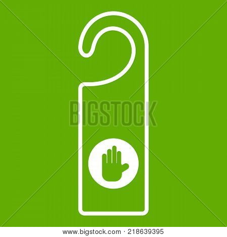 Do not disturb sign icon white isolated on green background. Vector illustration