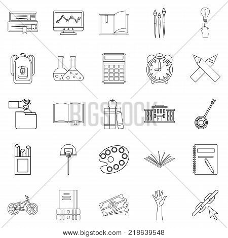 Scholastic degree icons set. Outline set of 25 scholastic degree vector icons for web isolated on white background