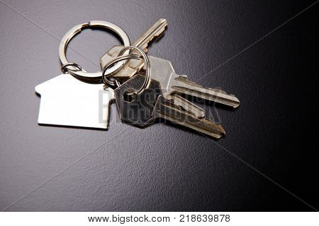 house key with key ring on the black background
