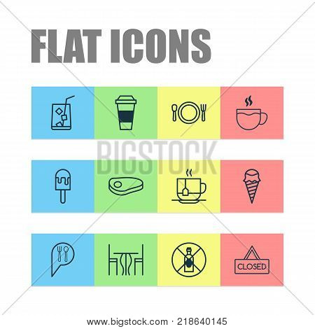 Cafe icons set with dining room, steak, tea and other sundae elements. Isolated vector illustration cafe icons.