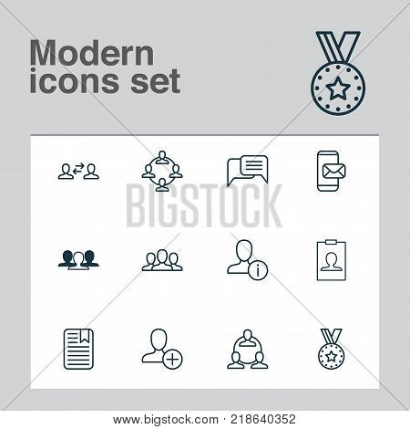 Network icons set with personal data, identity card, note page and other business exchange elements. Isolated vector illustration network icons.