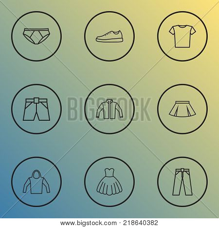 Garment icons line style set with dress, underpants, blouse and other mini elements. Isolated vector illustration garment icons.
