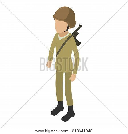 Soldier army icon. Isometric illustration of soldier army vector icon for web