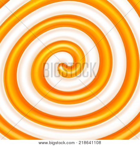 Orange jam or syrup in the milk swirl. Sweet spiral background. Dairy and fruit mix. Cream, jam, yogurt, milkshake, lollipop, candy. Vector illustration for advertising or packaging of dairy products.