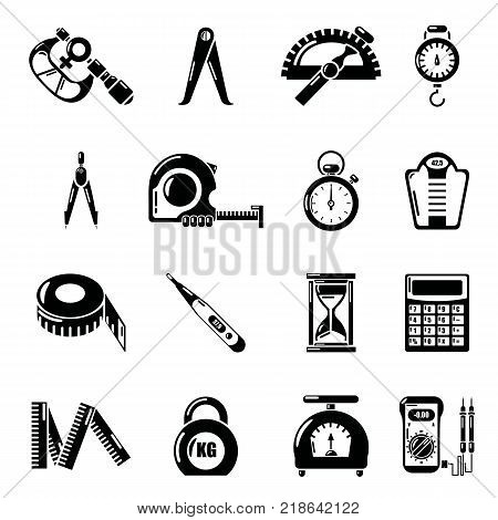 Measure precision icons set. Simple illustration of 16 measure precision vector icons for web