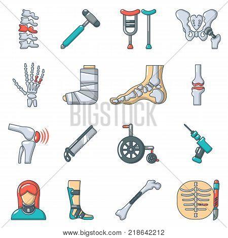 Orthopedist bone tools icons set. Cartoon illustration of 16 orthopedist bone devices vector icons for web