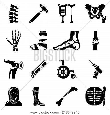 Orthopedist bone tools icons set. Simple illustration of 16 orthopedist bone devices vector icons for web