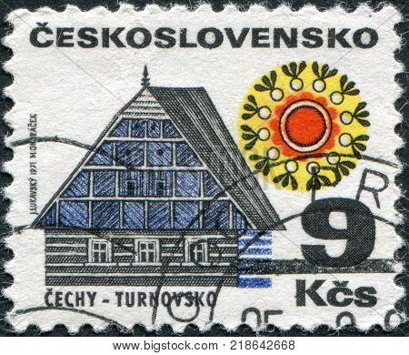 CZECHOSLOVAKIA - CIRCA 1971: A stamp printed in the Czechoslovakia shown Cottage Turnov circa 1971