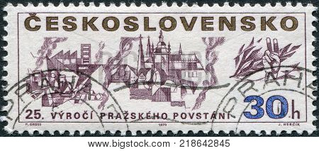 CZECHOSLOVAKIA - CIRCA 1970: A stamp printed in the Czechoslovakia, is dedicated to the 25th anniversary of the Prague uprising, shows Fighters on the Barricades, circa 1970