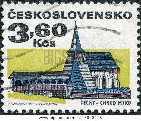 CZECHOSLOVAKIA - CIRCA 1971: A stamp printed in the Czechoslovakia, shows the Church of St. Bartholomew, Chrudim, circa 1971