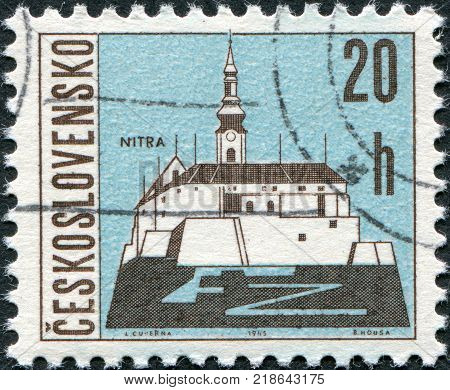CZECHOSLOVAKIA - CIRCA 1965: A stamp printed in the Czechoslovakia shows the city of Nitra circa 1965