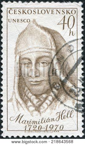 CZECHOSLOVAKIA - CIRCA 1970: A stamp printed in the Czechoslovakia shows Maximilian Hell (1720-92) Slovakian Jesuit and astronomer circa 1970