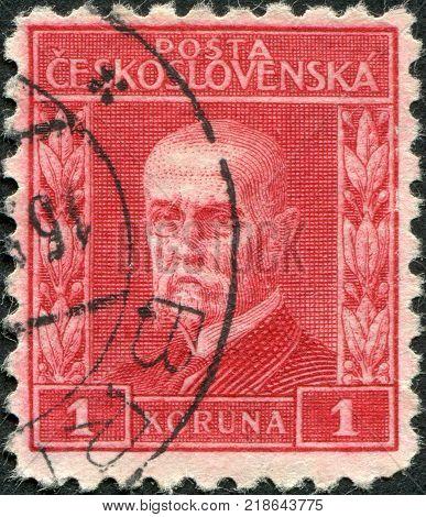 CZECHOSLOVAKIA - CIRCA 1927: A stamp printed in the Czechoslovakia shows the first president of Czechoslovakia Thomas Masaryk circa 1927