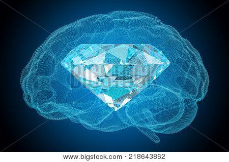 Brilliant idea concept. Diamond inside brain 3D rendering