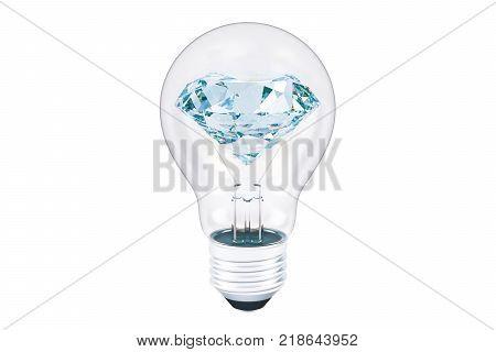 Diamond inside lightbulb. Brilliant idea concept 3D rendering isolated on white background