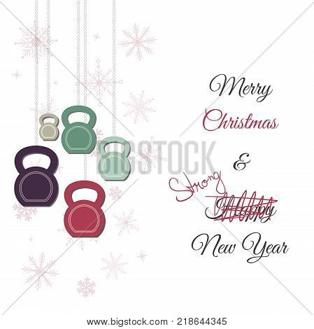 Vector Christmas and New Year greeting Card. Template with ketllebells stylized like christmas decorations. Background with low opacity snowflakes.