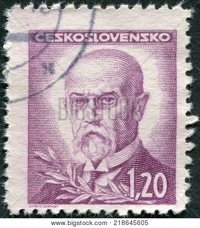 CZECHOSLOVAKIA - CIRCA 1945: A stamp printed in the Czechoslovakia, shows the first president of Czechoslovakia, Thomas Masaryk, circa 1945