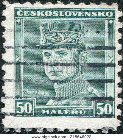 CZECHOSLOVAKIA - CIRCA 1935: A stamp printed in the Czechoslovakia shown Milan Rastislav Stefanik circa 1935