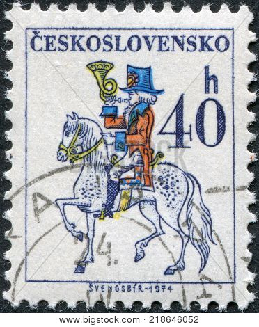 CZECHOSLOVAKIA - CIRCA 1974: A stamp printed in the Czechoslovakia shows the Post Rider circa 1974