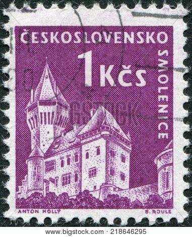 CZECHOSLOVAKIA - CIRCA 1960: A stamp printed in the Czechoslovakia shown Smolenice Castle circa 1960