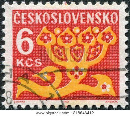 CZECHOSLOVAKIA - CIRCA 1972: A stamp printed in the Czechoslovakia shown Stylized Flower circa 1972