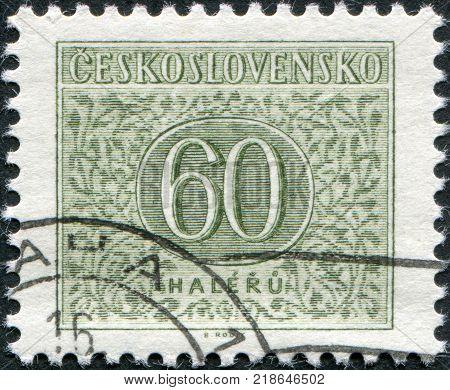CZECHOSLOVAKIA - CIRCA 1963: A stamp printed in the Czechoslovakia shows a porto-mark circa 1963