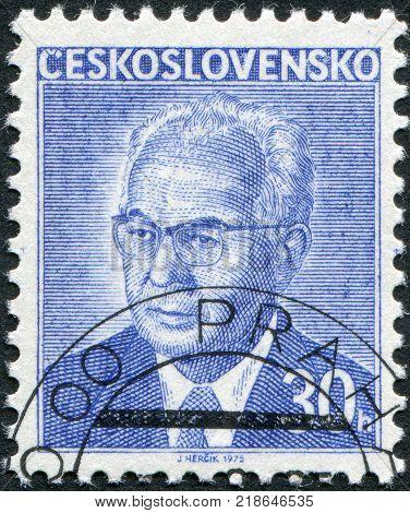 CZECHOSLOVAKIA - CIRCA 1975: A stamp printed in the Czechoslovakia shows the president of Czechoslovakia Gustav Husak circa 1975