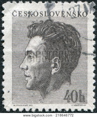 CZECHOSLOVAKIA - CIRCA 1953: A stamp printed in the Czechoslovakia shows Julius Fuc