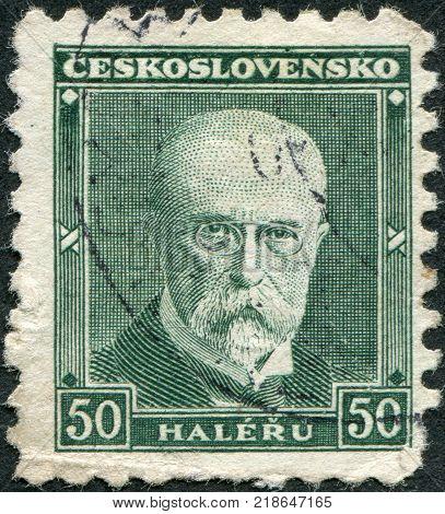 CZECHOSLOVAKIA - CIRCA 1930: A stamp printed in the Czechoslovakia shows the first president of Czechoslovakia Thomas Masaryk circa 1930