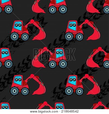 Cute Kids Car, Tractor Pattern For Girls And Boys. Colorful Car, Auto, Tractor On The Abstract Brigh