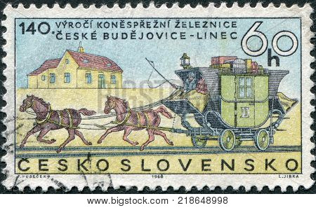 CZECHOSLOVAKIA - CIRCA 1968: A stamp printed in the Czechoslovakia is dedicated to the 140th anniversary of the horse-drawn railroad Ceske Budejovice to Linz shows the Stagecoach on Rails circa 1968