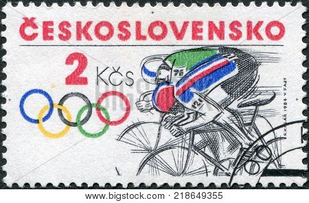 CZECHOSLOVAKIA - CIRCA 1984: A stamp printed in the Czechoslovakia, is dedicated to the Summer Olympics in Los Angeles, is shown Bicycling, circa 1984