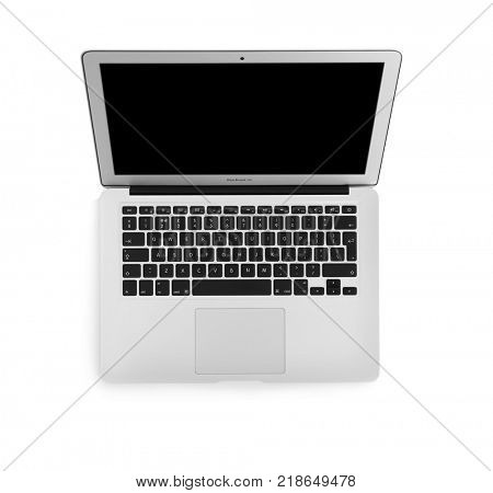 KYIV, UKRAINE - OCTOBER 27, 2017: Apple MacBook Air Silver on white background, top view