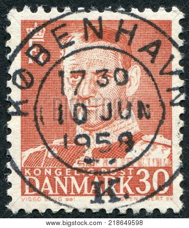 DENMARK - CIRCA 1950: A stamp printed in the Denmark depicts King Frederick IX circa 1950