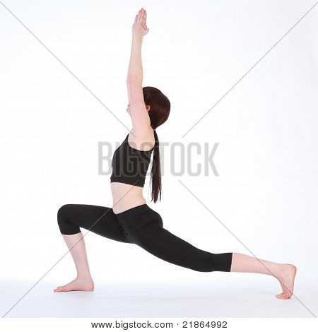 Yoga Warrior One Pose Virabhadrasana By Fit Woman