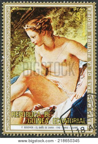 EQUATORIAL GUINEA - CIRCA 1973: A stamp printed in the Equatorial Guinea is shown painting Francois Boucher