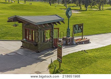 LA JOLLA CALIFORNIA USA - NOVEMBER 6 2017: The starters shack on the first tee of Torrey Pines golf course near San Diego.