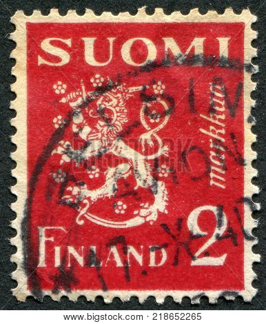 FINLAND-CIRCA 1936: A stamp printed in the Finland shows a national symbol