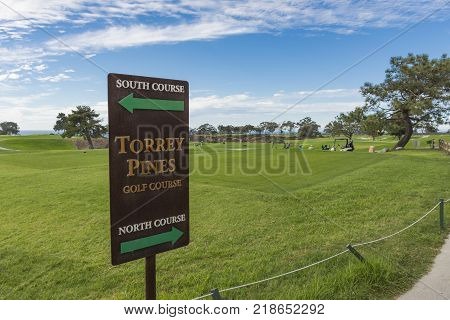 LA JOLLA CALIFORNIA USA - NOVEMBER 6 2017: The North Course and South Course sign on the first tee of Torrey Pines golf course near San Diego.