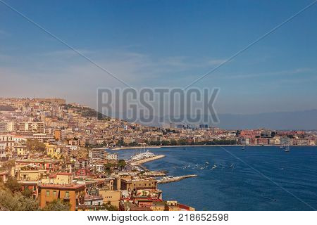 Panorama of Naples, view of the port in the Gulf of Naples The province of Campania. Italy.