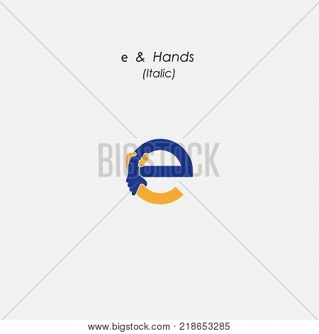 e - Letter abstract icon & hands logo design vector template.Business offer, partnership symbol. Hope, help concept. Support, teamwork sign.Corporate business & education logotype symbol.Vector illustration