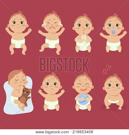 Set with cute little baby in diaper with different emotions. Various face expressions. Happy child, baby cry, hold teddy beart, sleeping child, sad boy, crying boy, screaming baby. Colorful vector.
