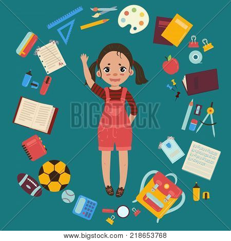 Elementary or middle school schoolgirl. Supplies from girls backpack notebooks, planner, pencil case textbook apple ball for soccer and rugby. School infographics set of elements. Vector flat style illustration