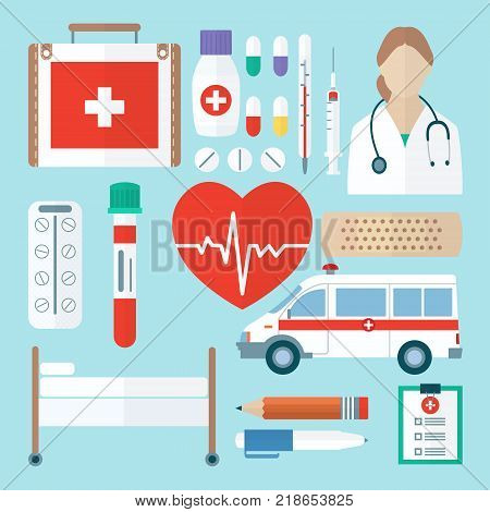Color medical icon set in flat style. Medicine symbols closeup. Includes first aid kit, pills, thermometer, syringe, test tube, adhesive plaster, ambulance, couch, pencil and pen etc.