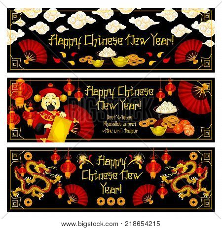 Happy Chinese New Year greeting banners for traditional lunar holiday celebration. Vector Chinese symbols and decorations of golden coins, dragons and hieroglyph, red paper lantern or fan for China New Year