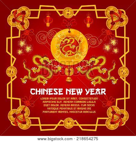 Chinese New Year traditional golden symbols on red background for greeting card design. Vector Chinese lunar New Year decorations of gold ingot coins, lanterns and dragons in golden ornament frame