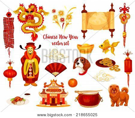 Chinese New Year holiday symbol set of Spring Festival celebration. Red lantern, firecracker and knot ornament with fortune coin, dragon, dog, gold ingot and firework, temple pagoda, oranges and carp