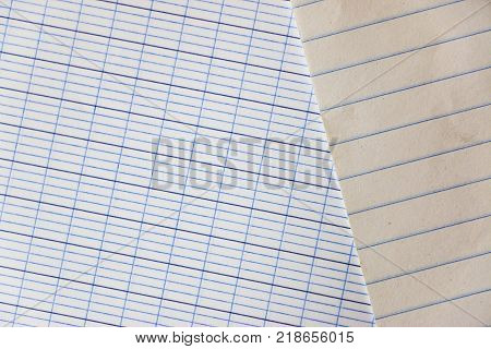 Closeup Blank Lined Paper Or Ruled Paper. Top View Stock Photo In Back To School Concept.