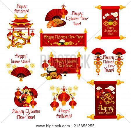 Happy Chinese New Year greetings icons of traditional Chinese lunar holiday symbols and decorations. Vector dragon temple, paper lantern and fireworks or golden coins on scroll for China New Year