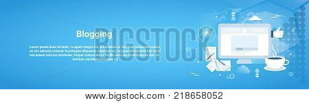 Blogging Management Web Horizontal Banner With Copy Space Flat Vector Illustration